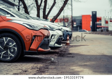 Many cars parked in a row Stockfoto ©