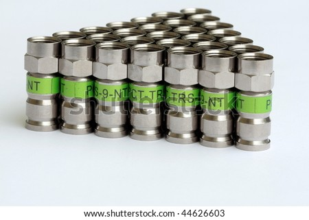 Many CATV connectors for professional instalations - stock photo