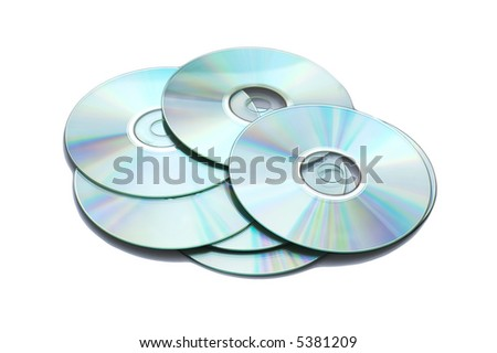 Many CD's isolated on the white background