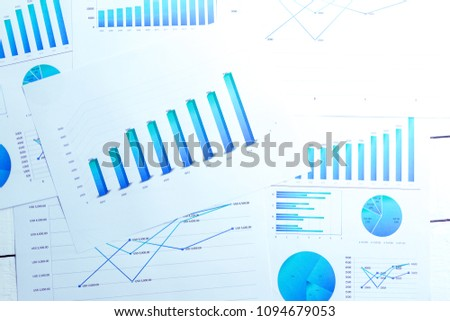Many charts and graphs reflect the company's concept of data collection and statistical performance in the past year. #1094679053