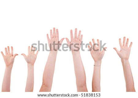 Many children hands high up, isolated on white background. Studio shot