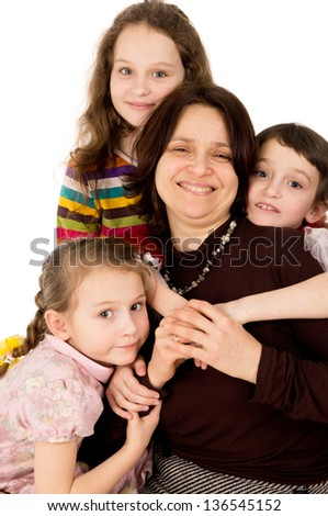many children happy family with mother