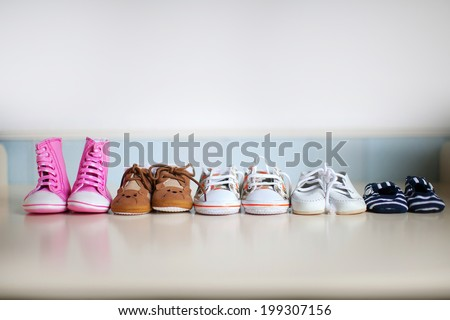 many children's shoes