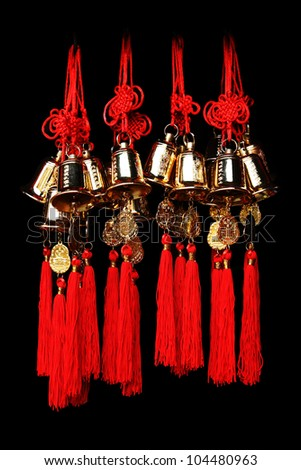 Many Chinese lucky bells in Black background