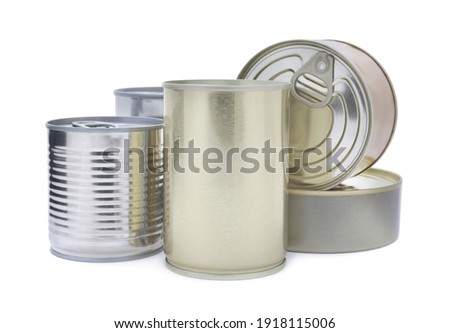 Many closed tin cans on white background Stock photo ©