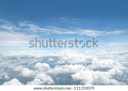 many cloud in blue sky