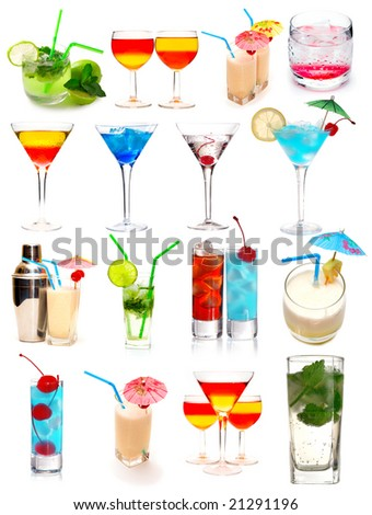 Many cocktails isolated on white background