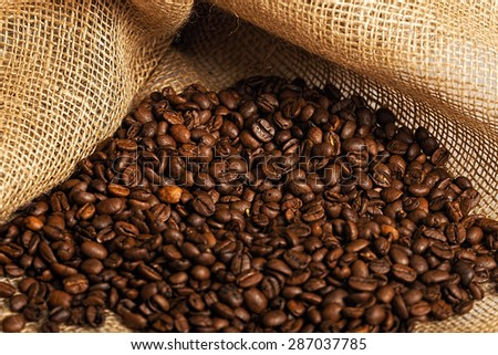 Many coffee beans in a sack #287037785