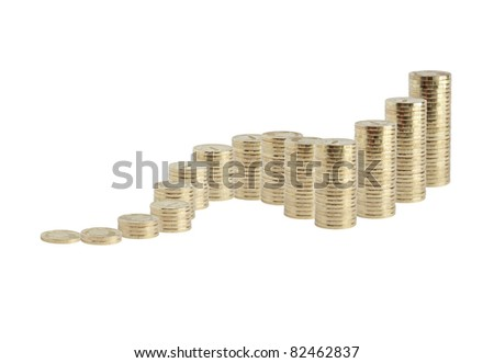 Many coins columns from small to big standing on white background