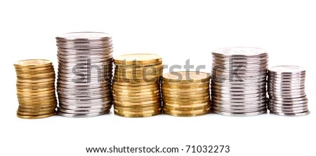 Many coins in column isolated on white #71032273