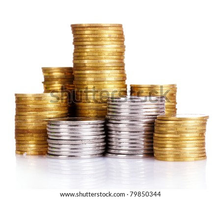Many coins in column isolated on white #79850344