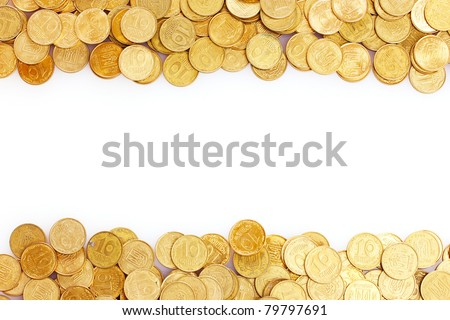 Many coins isolated on white. Ukrainian coins