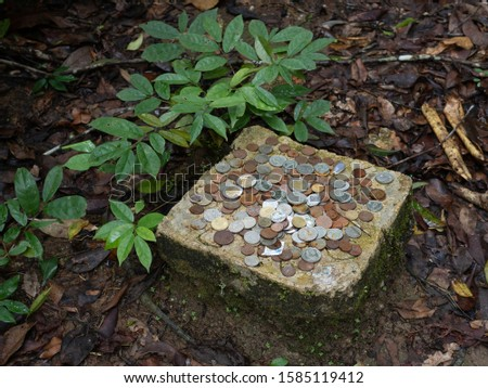 Many coins on the holy rock,area at tourists throw coins for pray blessings from stone buddha.