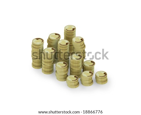 many coins on white background as a financial symbol. FIND MORE coins and money in my portfolio