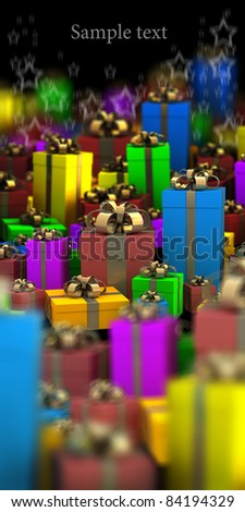 Many color gift boxes background 3D render ( high resolution )