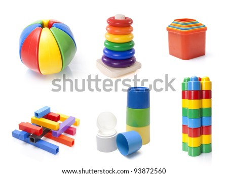 many color kids toys on white background