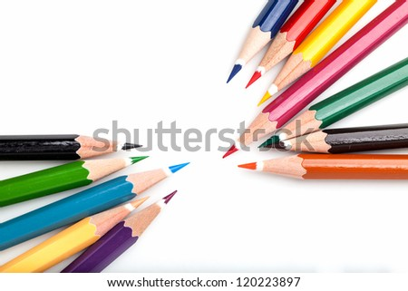 many color pencils on white background