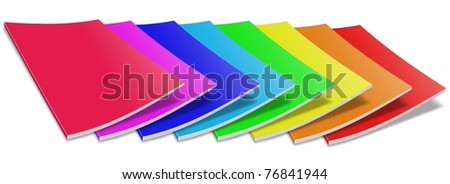 Many colored blank magazine cover.  Isolated on white.