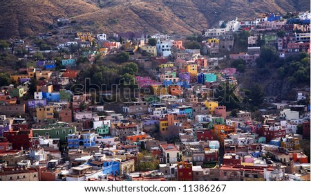 Many Colored Houses of Guanajuato Mexico taken from Le Pipila Hill Overlooking Guanajauto, No Trademarks