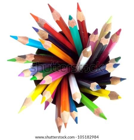 many colored pencils with white background
