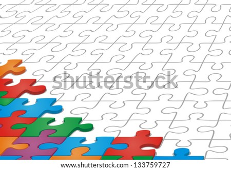 Many-colored puzzle pattern. Raster version, vector file available in portfolio.