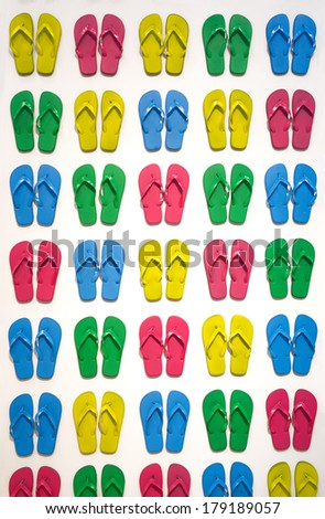 Many colored slippers