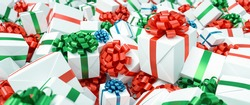 Many colorful and white gifts for Christmas on a big pile