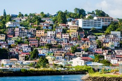 Many colorful buildings on the coast of Martinique
