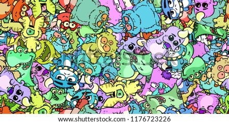 Many colorful cartoon monsters as a seamless background texture