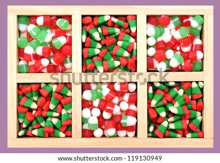 many colorful Christmas candies on tray