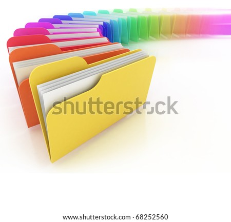 many colorful folders on the white background