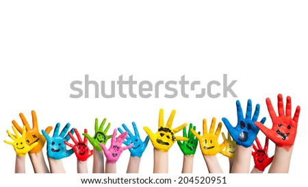 many colorful hands with smileys