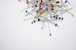 Many colorful pins for the garment industry.