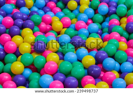 Many colorful plastic balls on children\'s playground