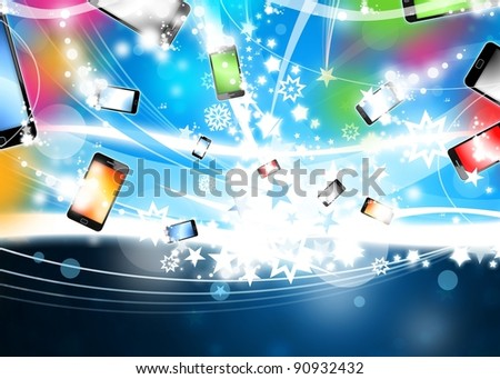 Many Colorful Smart Phones are flying In Blue Xmas Background