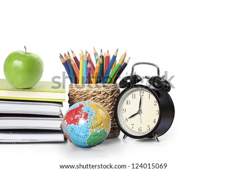 Many Colorful stationery of assortment on table
