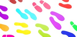 Many colorful sticker footprints or footsteps isolated on white background - Pattern of Art and Color Design concept