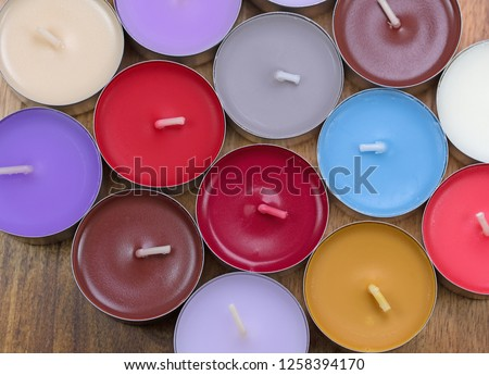 Many colorful tealights #1258394170
