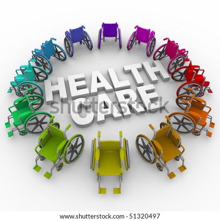 Many colorful wheelchairs in ring around the words Health Care