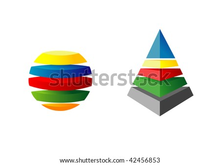 Many-coloured three-dimensional figures. Pyramid and sphere in five colors are present.