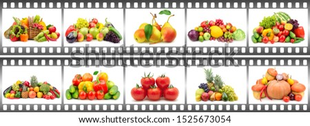 Many compositions fruits and vegetables in frame in form film isolated on white background.