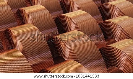 Many copper bobbins, warehouse copper pipes. 3d illustration.  ストックフォト ©