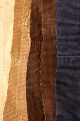 Many cotton traditional corduroy retail, with tattered around as backdrop, against white background
