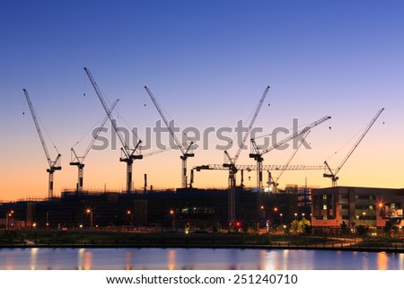 Many cranes at australian construction site sunshine for Sunshine construction