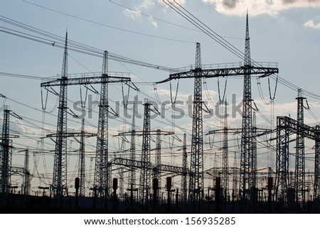 Many crossing electric power transmission lines #156935285