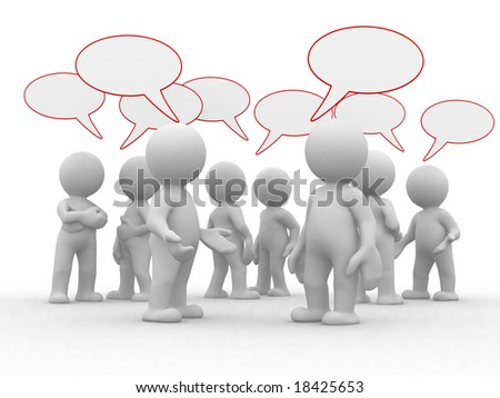 many 3d humans with empty chat bubbles - stock photo