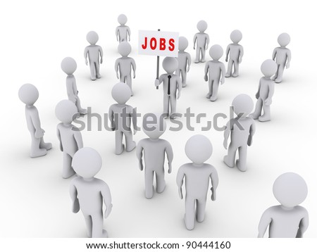 Many 3d people walking towards one holding a job sign - stock photo
