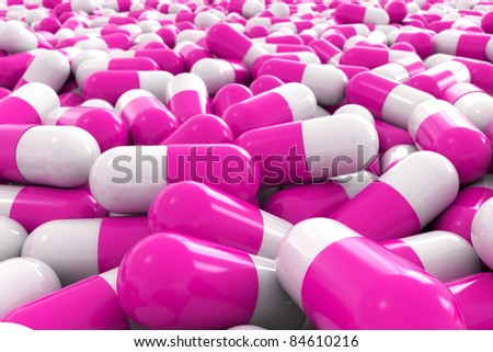 many 3d pink pills - stock photo