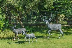 Many Deer statue in the garden