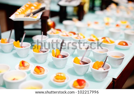 Many delicious desserts at restaurant buffet